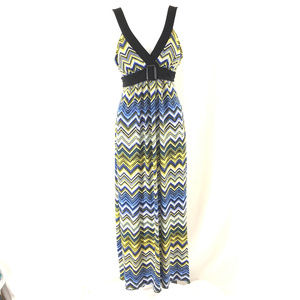 En Focus Maxi Dress Tie Waist Chevron Stripe Blue